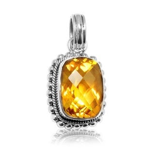 Sterling Silver Citrine Double Rope and Beaded Edge Pendant (Indonesia)