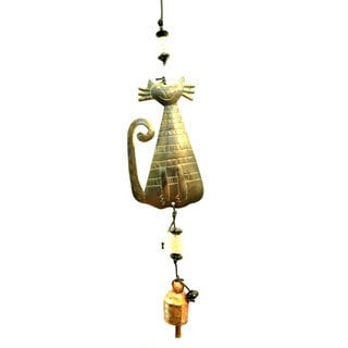 Handmade Crazy Cat Outdoor Wind Chime (India)