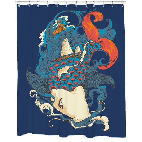 Fish and Ships Shower Curtain