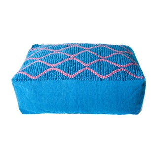 Swirl Blue/ Red Wool Double Pouf Ottoman