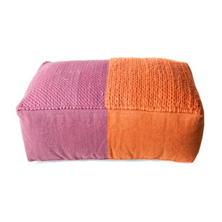Trendsage Plain Braided Purple and Orange Double Pouf Ottoman