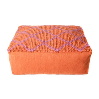 Trendsage Swirl Purple/ Orange Double Pouf Ottoman
