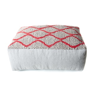 Trendsage Swirl Red/ Grey Double Pouf Ottoman
