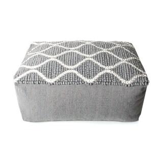 Trendsage Swirl Grey/ White Pouf Ottoman