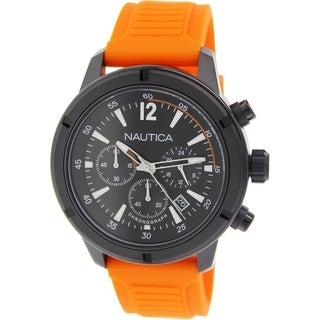 Nautica Men's Nsr 19 N18710G Orange Rubber Quartz Watch