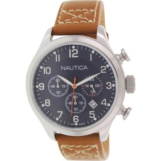 Nautica Men's Bfd 101 N14699G Brown Leather Quartz Watch
