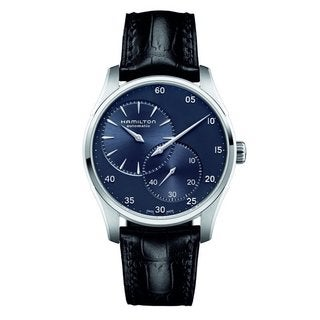Hamilton Men's H42615743 Jazzmaster Regulator Automatic Blue Dial Black Leather Watch