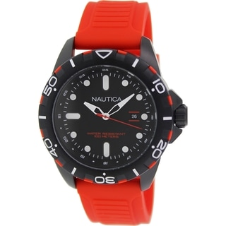 Nautica Men's Nsr 102 N11620G Red Rubber Quartz Watch