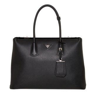 Prada Black Large City Calf Turn-lock Twin Tote Bag