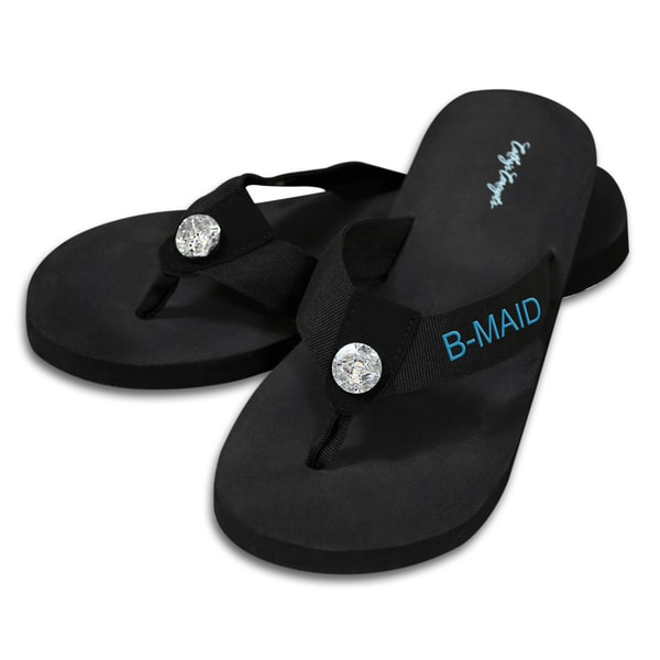 Bridesmaid Black Flip Flops with Rhinestone Accent