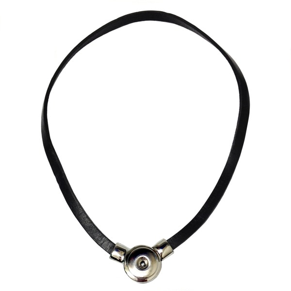 Bleek2sheek Snap-a-doo Black Leather Snap Base Noosa Cord Necklace