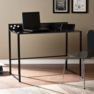 Upton Home Brighton Black Metal and Glass Desk with Power and USB