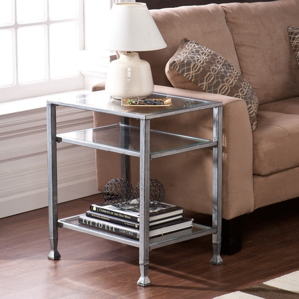 Upton Home Silver Metal and Glass End Table