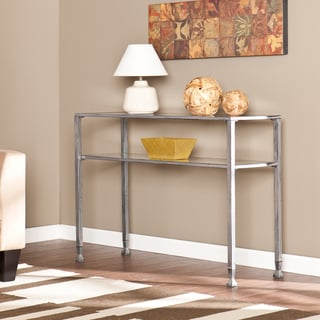 Upton Home Silver Metal and Glass Console Table