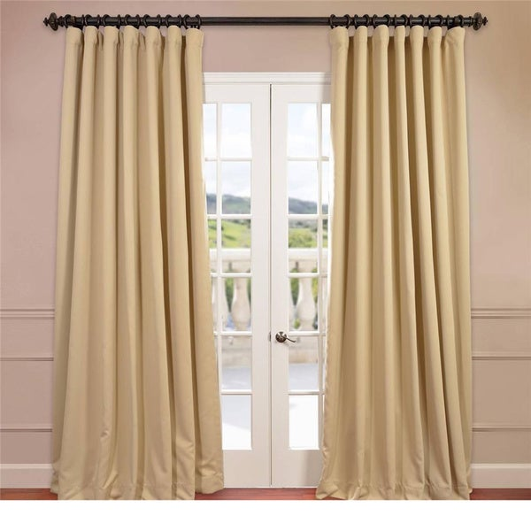 Exclusive Fabrics Extra Wide Thermal Blackout 84-inch Curtain Panel in Charcoal (As Is Item)