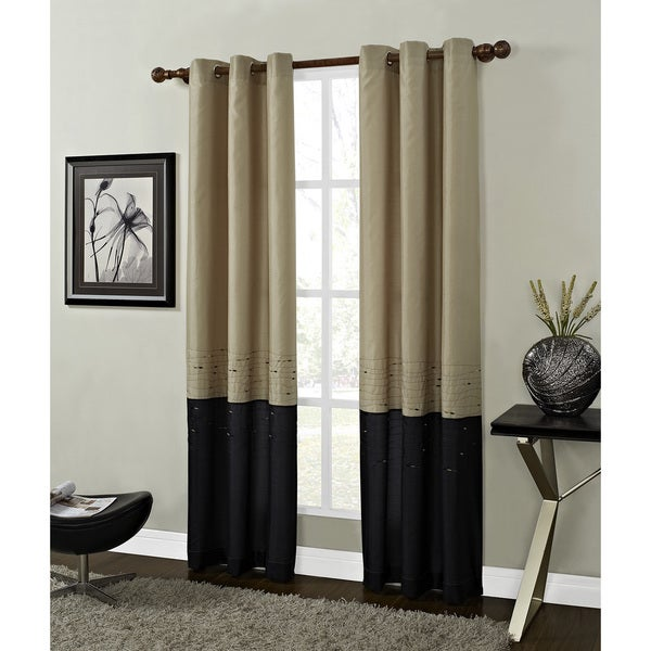 Horizon Gold and Black Embroidered Grommet-top Curtain Panel