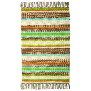 Haven Multicolored Stripes Cotton Area Rug (5' x 8')