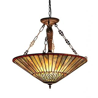 Tiffany-style Mission Design 3-light Pendant in Dark Antique Bronze