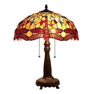 Tiffany-style Dragonfly Design 2-light Table Lamp in Dark Antique Bronze