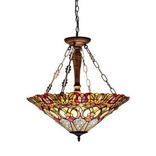 Tiffany-style Victorian Design 3-light Pendant in Dark Antique Bronze