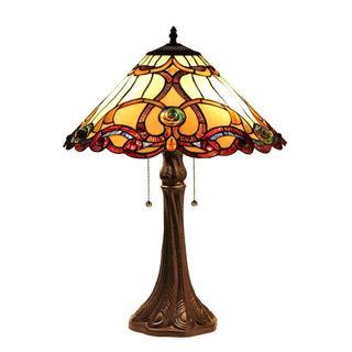 Tiffany-style Victorian Design 2-light Table Lamp in Dark Antique Bronze