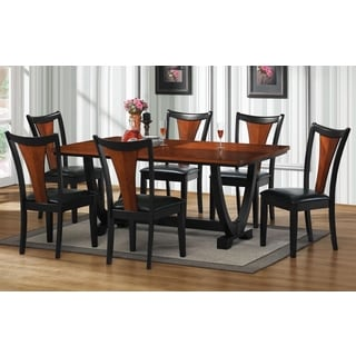 Besancon Two-tone Black/ Cherry 7-piece Dining Set