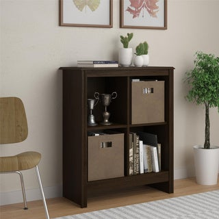 4-cube Storage Cubby Bookcase with Two (2) Storage Bins