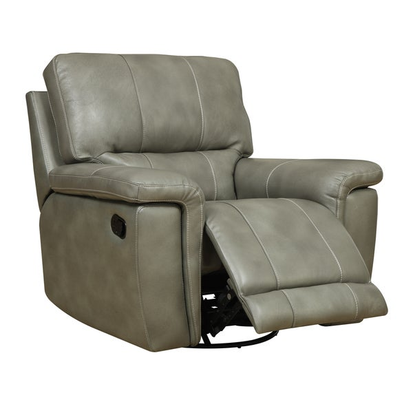 Emerald Grey Taupe Leather Match Swivel Glider Recliner