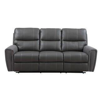 Emerald Grey Leather/ Microfiber Power Dual Reclining Sofa