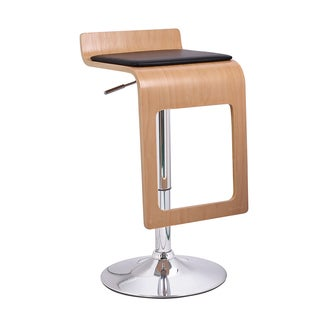 Adeco Beech Off-black Low Back Stylish Footrest Adjustable Bar Stool