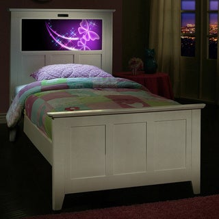 LightHeaded Beds Full Bed in Satin White with back-lit LED Headboard