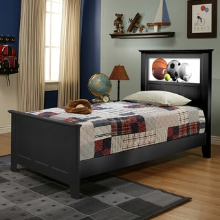 LightHeaded Beds Satin Black Shaker Twin Bed with Changeable Back-lit LED Headboard Imagery