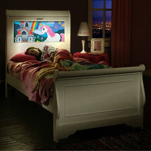 LightHeaded Beds Edgewood Satin White Twin Sleigh Bed with Changeable Back-lit LED Headboard Imagery