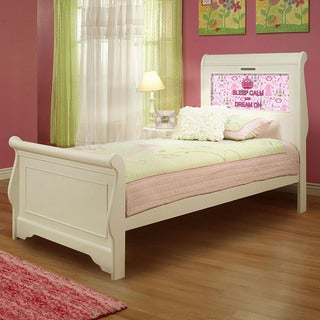 LightHeaded Beds Edgewood Twin Sleigh Bed in Satin White with back-lit LED Headboard