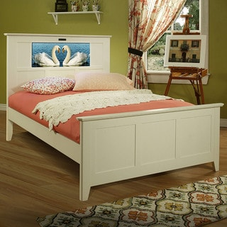 LightHeaded Beds Shaker Full Bed in Satin White with back-lit LED Headboard