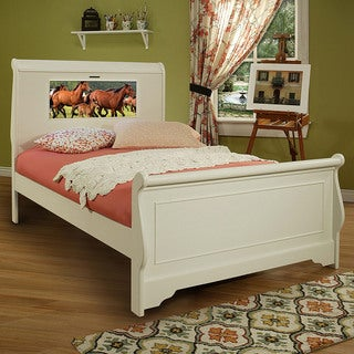 LightHeaded Beds Edgewood Full Sleigh Bed in Satin White with back-lit LED Headboard