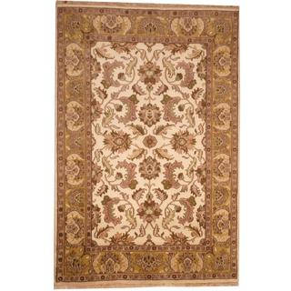 Herat Oriental Indo Hand-knotted Mahal Ivory/ Beige Wool Rug (6' x 9')