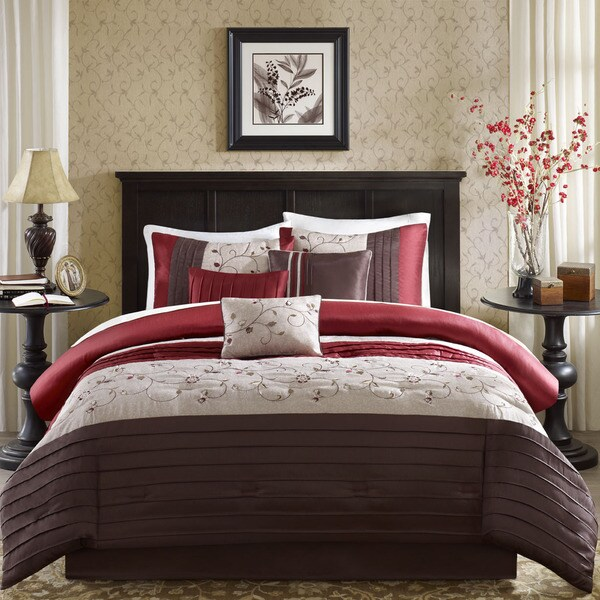 Madison Park Belle 6-Piece Duvet Cover Set in Red Size Cal-King (As Is Item)