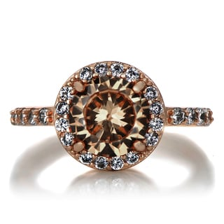 Rose Goldplated Sterling Silver 2ct TGW Champagne Cubic Zirconia Engagement Ring