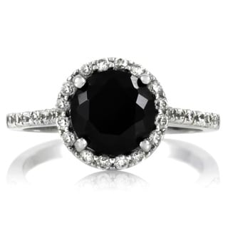 Sterling Silver 2ct TGW Black Cubic Zirconia Ring