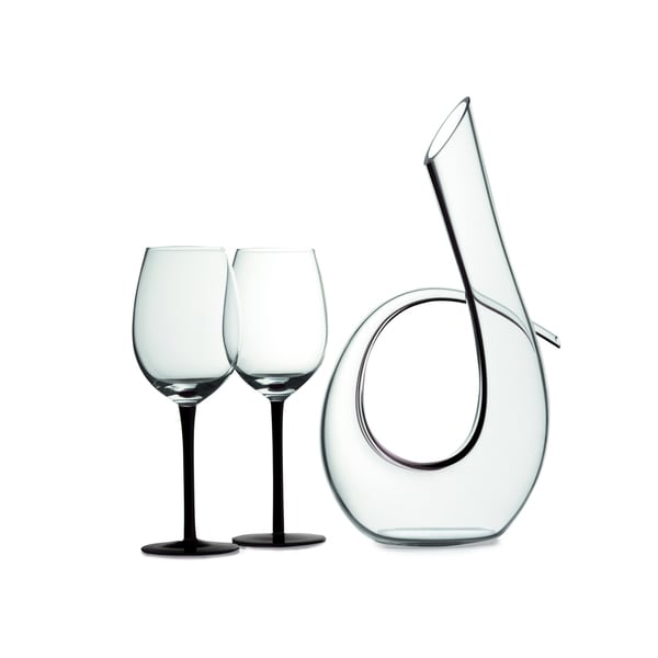 Maxwell & Williams Sensations Black 3-piece Decanter and Wine Glass Set