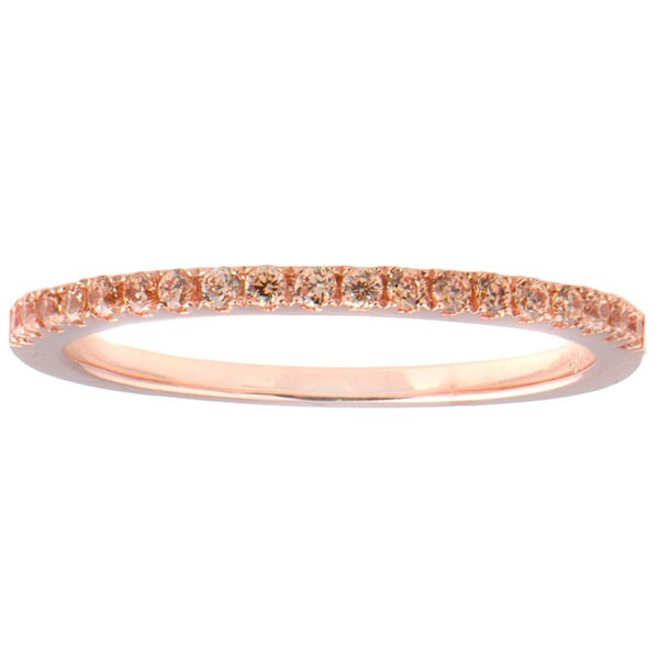 Rose Goldtone Sterling Silver Champagne Cubic Zirconia Wedding Band