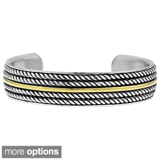 Stainless Steel Ionic Plated Rope Accent Cuff Bracelet