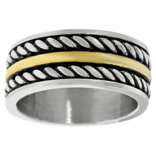 Stainless Steel Mens Ionic Plated Rope Design Ring
