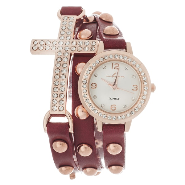 Via Nova Women's Rhinestone Accent Cross Red Wrap Watch