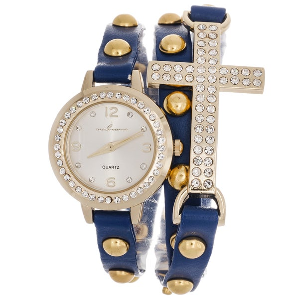 Via Nova Women's Rhinestone Accent Cross Blue Wrap Watch