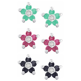 Dolce Giavonna Sterling Silver Gemstone and Diamond Accent Flower Stud Earring Set