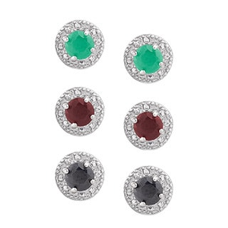 Dolce Giavonna Sterling Silver Gemstone Circle Stud Earring Set with Red Bow Gift Box