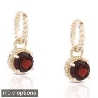 Dolce Giavonna Gold over Sterling Silver Gemstone Drop Earrings