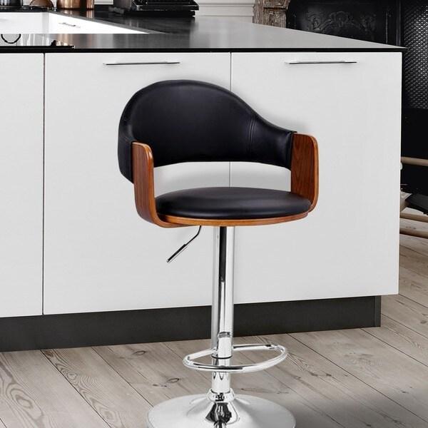 Adeco Black Leathette And Walnut Colored Wood Adjustable